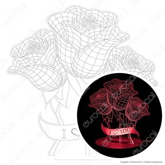 Placca in Plexiglass con Forma Mazzo di Rose 3D Incisa al Laser - Made in Italy