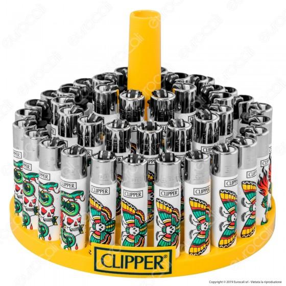 Clipper Large Fantasia Skulls Tattoo 4 - Box da 48 Accendini