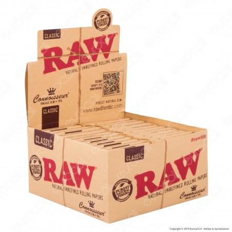 Raw Connoisseur Cartine Classic King Size Slim Lunghe e Filtri in Carta - Scatola da 24 Libretti