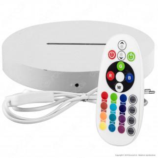 Base in Legno con Striscia LED RGB+W e Telecomando per Placche in Plexiglass Incise al Laser - Made in Italy