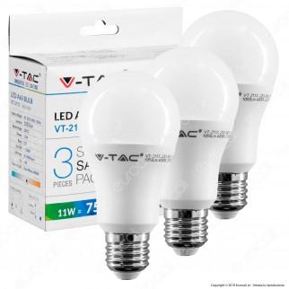 V-Tac VT-2113 Super Saver Pack Confezione 3 Lampadine LED E27 11W Bulb A60 - SKU 7352 / 7353 / 7354