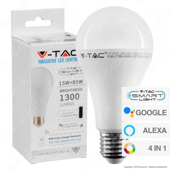 V-Tac Smart VT-5117 Lampadina LED Wi-Fi E27 15W Bulb A65 RGB+W 4in1 Dimmerabile - SKU 2753