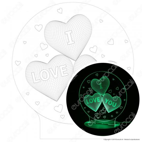I Love You - Placca in Plexiglass Trasparente Effetto 3D Incisa al Laser Made in Italy