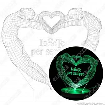 Io & Te per Sempre - Placca in Plexiglass Trasparente Effetto 3D Incisa al Laser Made in Italy