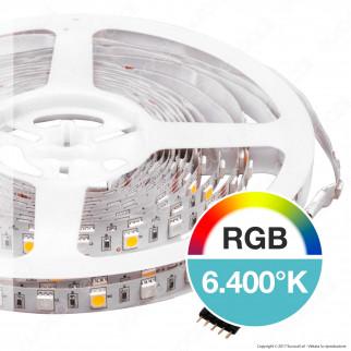V-Tac Striscia LED 5050 Multicolore RGB+W 60 LED/metro - Bobina da 5 metri - SKU 2553 / 2552 / 2159