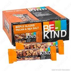 Be-Kind Snack con Noci Pecan Glassate allo Sciroppo d'Acero e Sale Marino - Box da 12 Barretta da 40g