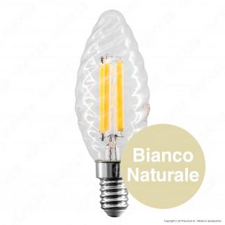 Life Lampadina LED Filamento E14 6W Candela Twist in Vetro Trasparente - mod. 39.920113C1 / 39.920113N