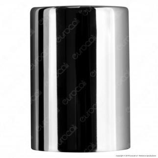 FAI Bicchiere Portalampada Cilindrico in Metallo per Lampadine E27 Colore Cromo - mod. 0146/CR