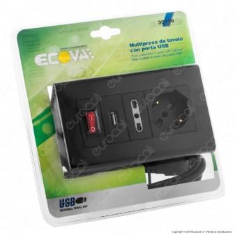 Ecova Multipresa da Tavolo 2 Posti Schuko e 10/16A con Porta USB e Interruttore - mod. 30109