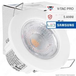 V-Tac PRO VT-885 Faretto LED 5W da Incasso Rotondo Bianco Dimmerabile IP65 - SKU 8177 / 8178 / 8181