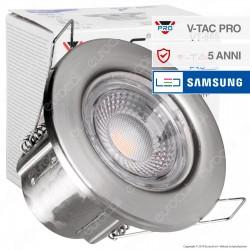 V-Tac PRO VT-885 Faretto LED 5W da Incasso Rotondo Nichel Satinato Dimmerabile IP65 - SKU 8174