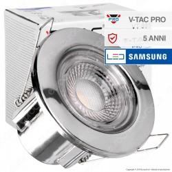 V-Tac PRO VT-885 Faretto LED 5W da Incasso Rotondo Colore Cromo Dimmerabile IP65 - SKU 8176