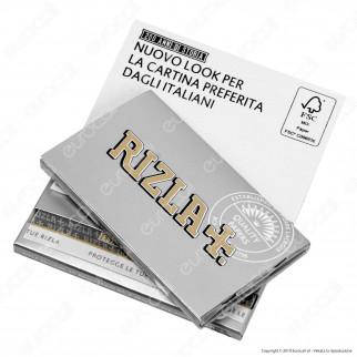 Cartine Rizla Silver Corte Doppie Argento - Scatola da 25 Libretti