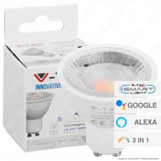 V-Tac Smart VT-5174 Lampadina LED Wi-Fi GU10 4,5W Faretto Spotlight 110° Changing Color 3in1 Dimmerabile - SKU 2750