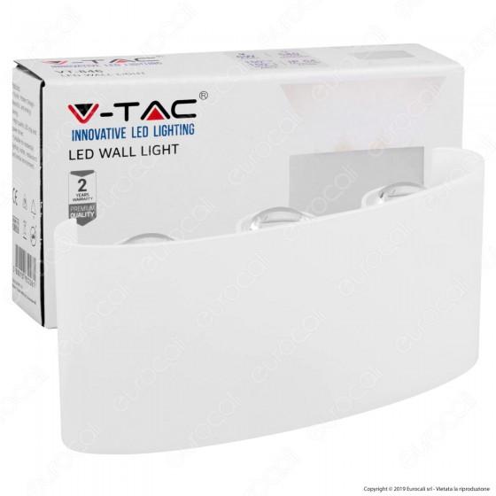 V-Tac VT-846 Lampada da Muro Wall Light Bianca con 6 LED COB 6W - SKU 8613 / 8614