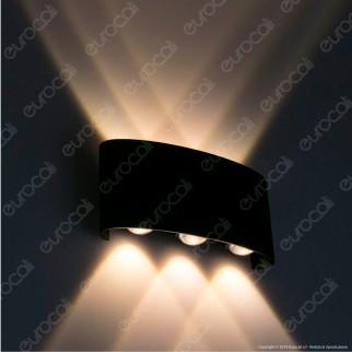 V-Tac VT-846 Lampada da Muro Wall Light Nera con 6 LED COB 6W - SKU 8615