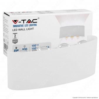 V-Tac VT-848 Applique Lampada da Muro Wall Light Bianca con 8 LED COB 8W - SKU 8618