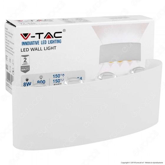 V-Tac VT-848 Lampada da Muro Wall Light Bianca con 8 LED COB 8W - SKU 8618