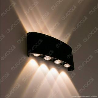 V-Tac VT-848 Lampada da Muro Wall Light Nera con 8 LED COB 8W - SKU 8619 / 8620