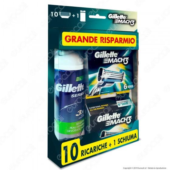 Gillette Mach3 Lamette Di Ricambio Per Rasoio con Schiuma da Barba - Confezione da 10 Ricariche + 1 Schiuma da Barba