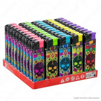 SmokeTrip Accendini Elettronici Ricaricabili Fantasia Skull Leaves - Box da 50 Accendini