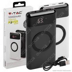 V-Tac VT-3521 Power Bank con Ricarica Wireless 10000 mAh 2 Uscite USB 2A - SKU 8905 / 8906