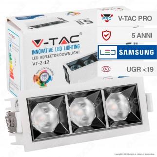 V-Tac PRO VT-2-12 Faretto LED SMD 12W da Incasso Rettangolare 12° CRI≥90 Chip Samsung - SKU 975 / 974 / 973