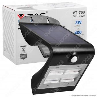 V-Tac VT-768 Lampada da Muro LED 3W con Pannello Solare e Sensore Crepuscolare e Movimento - SKU 7528