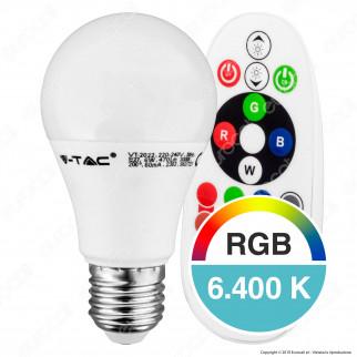V-Tac VT-2022 Lampadina LED E27 6W Bulb A60 RGB+W con Telecomando - SKU 7121 / 7150 / 7151