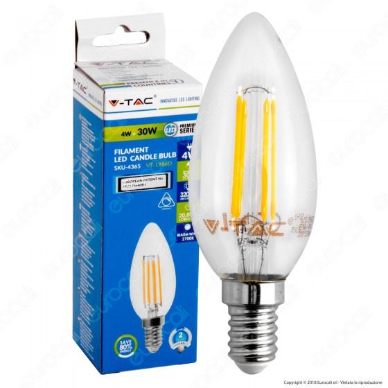 V-Tac VT-1986D Lampadina LED E14 4W Candela Filamento Dimmerabile - SKU 4365