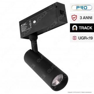V-Tac PRO VT-4215 Magnetic Track Light Faretto LED Magnetico 15W Nero CRI≥90 36° - SKU 7966 / 7967