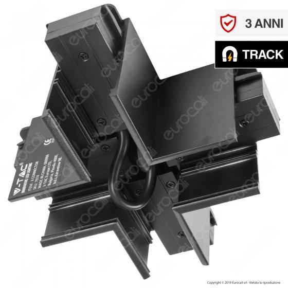 V-Tac X Connector Connettore Angolare a Croce per Binari Magnetici Track Light Nero - SKU 7974