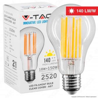 V-Tac VT-2328 Lampadina LED E27 18W Bulb A67 Filament - SKU 2802