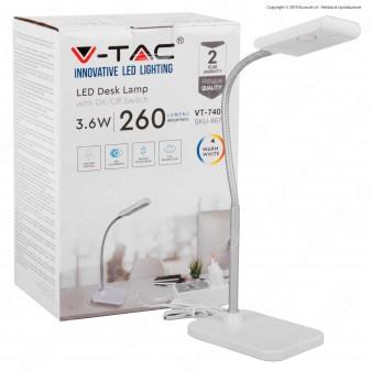 V-Tac VT-7403 Lampada LED da Tavolo 3,6W Orientabile Colore Bianco - SKU 8671