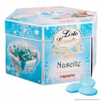 Confetti Crispo Snob Lieto Evento Nascite Azzurro con Mandorle Tostate Gusti Assortiti - Confezione 500g