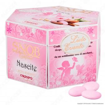Confetti Crispo Snob Lieto Evento Nascite Rosa con Mandorle Tostate Gusti Assortiti - Confezione 500g