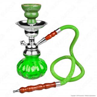 Narghilè in Vetro Lavorato Colore Verde con 1 Hose mod. 06865G - Altezza 24cm