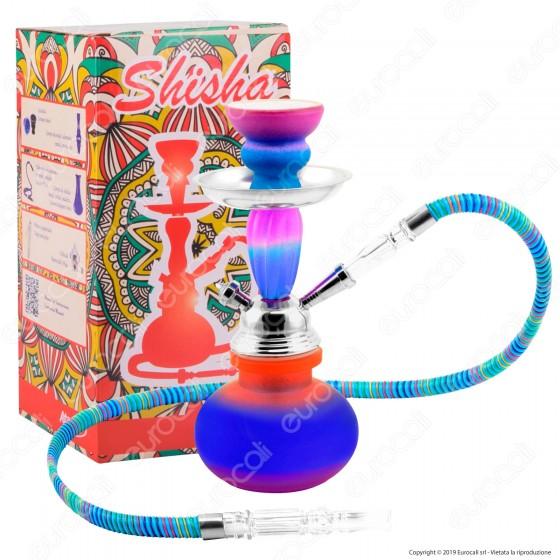 Atomic Narghilè in Vetro Lavorato Multicolore Fantasia Arcobaleno con 1 Hose mod. 0230658B - Altezza 25cm