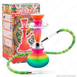 Atomic Narghilè in Vetro Lavorato Multicolore Fantasia Arcobaleno con 1 Hose mod. 0230658A - Altezza 25cm