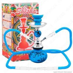 Atomic Narghilè in Vetro Lavorato Colore Blu Fantasia Lucertola con 2 Hose mod. 0230721 - Altezza 25cm