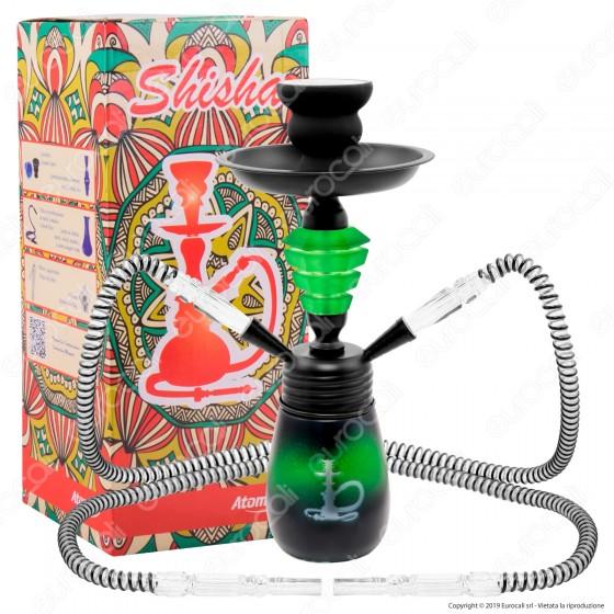 Atomic Narghilè in Vetro Lavorato Colore Verde con 2 Hose mod. 0230753 - Altezza 30cm