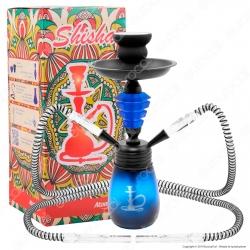 Atomic Narghilè in Vetro Lavorato Colore Blu con 2 Hose mod. 0230752 - Altezza 30cm