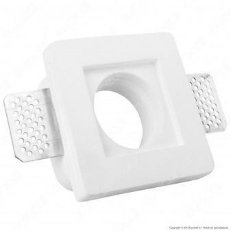 Portafaretto Quadrato da Incasso in Gesso Ceramico per Lampadine GU10 e GU5.3 - mod. C04
