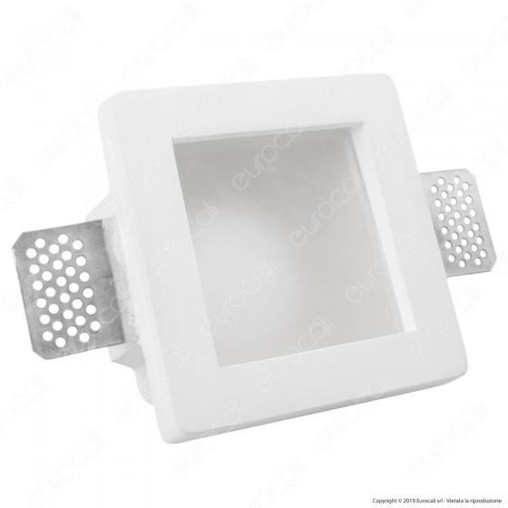 Portafaretto Quadrato da Incasso in Gesso e Vetro per Lampadine GU10 e GU5.3 - mod. C08