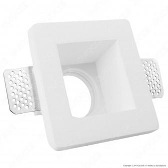 Portafaretto Quadrato da Incasso in Gesso Ceramico per Lampadine GU10 e GU5.3 - mod. C09