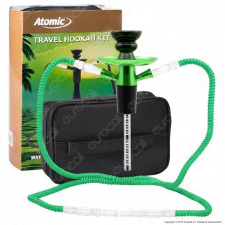 Atomic Kit Narghilè da Viaggio Colore Verde con 2 Hose e Custodia mod. 0231008