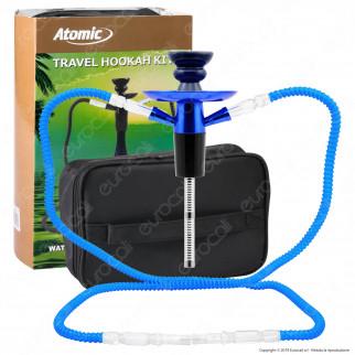 Atomic Kit Narghilè da Viaggio Colore Blu con 2 Hose e Custodia - mod. 0231005