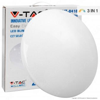 V-Tac VT-8418 Plafoniera LED 18W Changing Color 3in1 Forma Circolare Effetto Cielo Stellato - SKU 7604