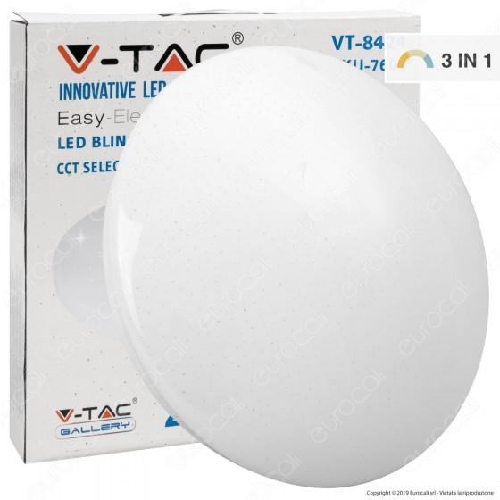 V-Tac VT-8424 Plafoniera LED 24W Changing Color 3in1 Forma Circolare Effetto Cielo Stellato - SKU 7606