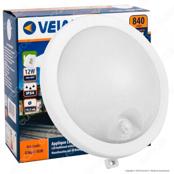 Velamp Plafoniera LED 12W IP54 Forma Circolare Colore Bianco con Sensore di Movimento - mod. UBLO-XIR